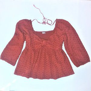 AEO Embroidered Baby Doll Top XL
